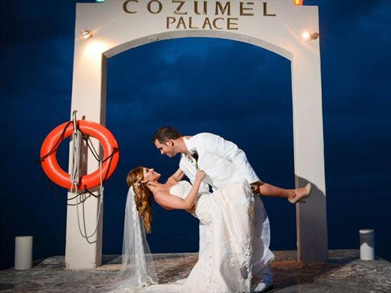 Unique wedding setting at Cozumel Palace