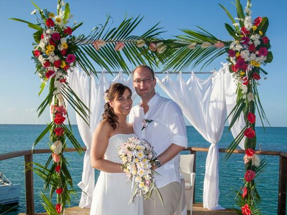 Newly married at Paradise Cove