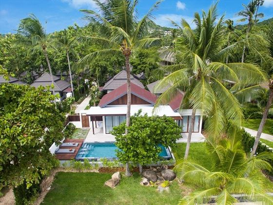 Peace Resort Samui aerial view of Two Bedroom Presidential Beachfront Pool