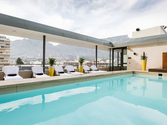 Rooftop pool at Pepperclub Hotel