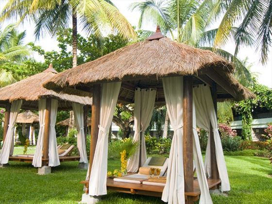Picturesque cabanas for after the ceremony