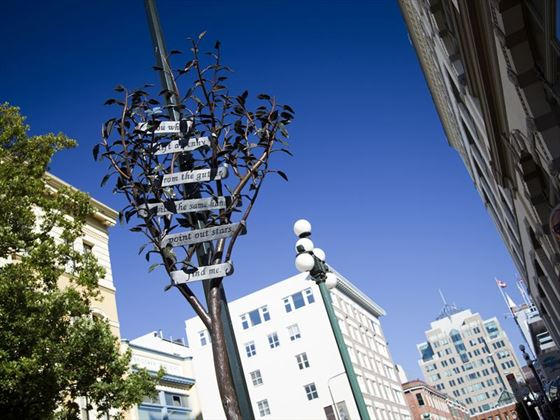 Poet Tree sculpture, Government Street, Victoria