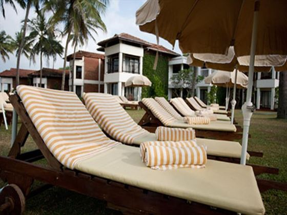 Poolside loungers at Club Hotel Dolphin