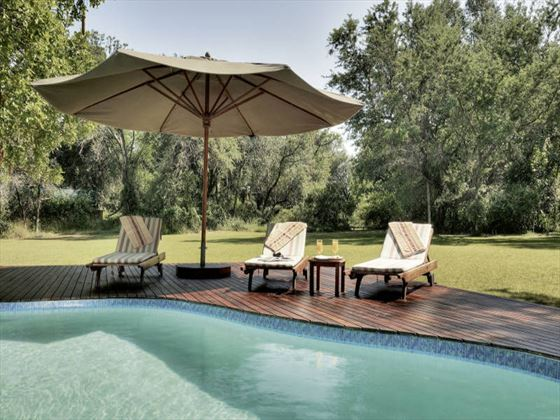 Poolside seating at Camp Okavango