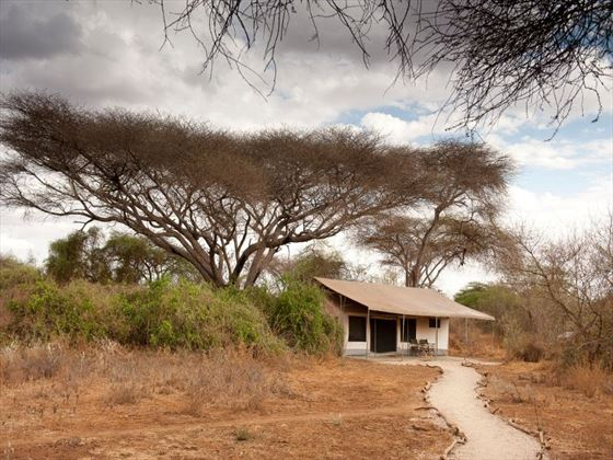 Stay in eco-friendly tents at the Porini Amboseli Camp