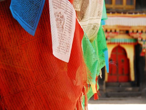 Prayer flags at temple at Sakya