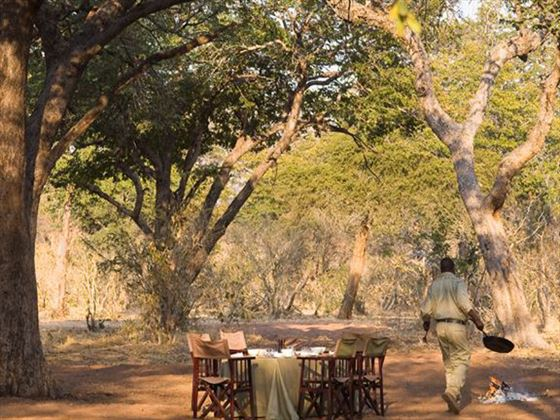 Private outdoor dining at Chobe Under Canvas