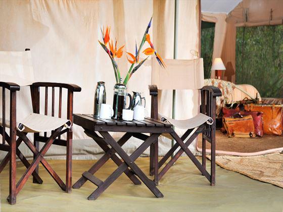 Private veranda at Nairobi Tented Camp