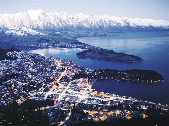 Queenstown illuminated at dusk
