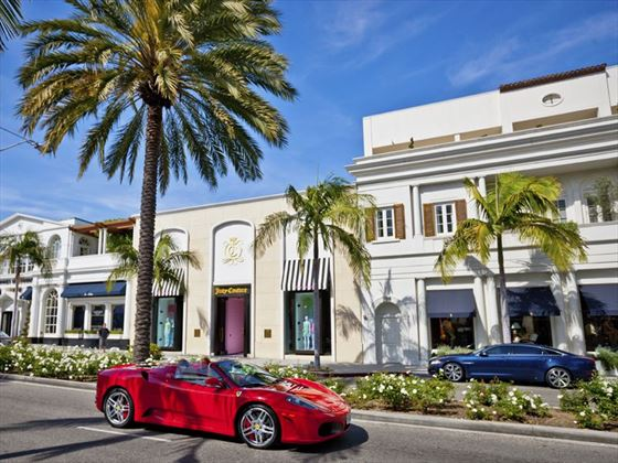 Red Ferrari on Rodeo Drive