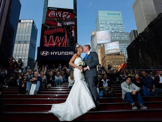 Bride & Groom on the Red Steps