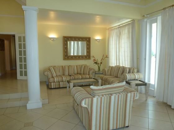 Comfy sofas in the living area