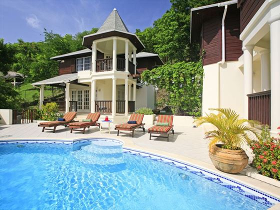 Pool terrace and cottage