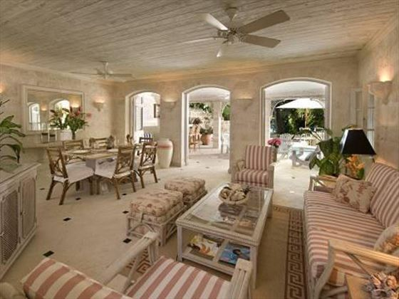 The airy living and dining area