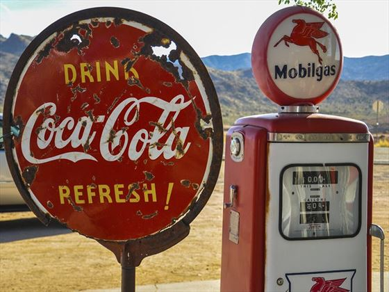 Retro gas pump on Route 66