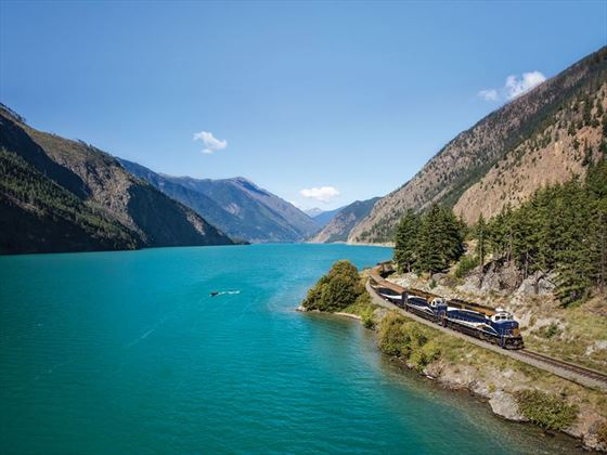 Rocky Mountaineer travelling past Seton Lake, British Columbia