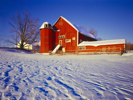 Vermont's farm country with fresh snow
