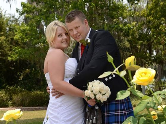 Bride & Groom in the Rose Garden at Cypress Grove