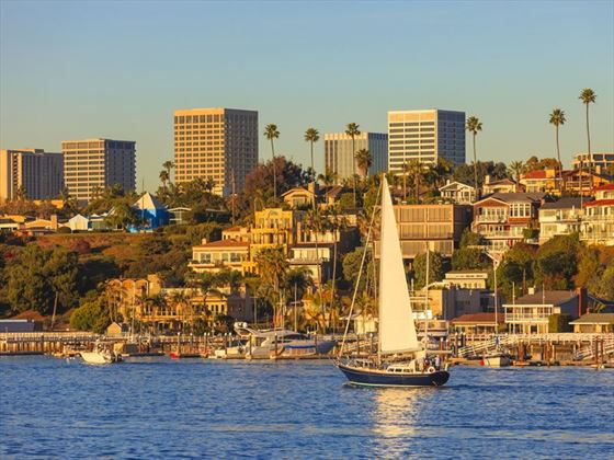 Sailing around Newport Beach's harbour