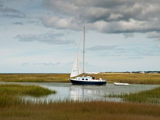 Sailing in the marshy inlets of Yarmouth, Maine