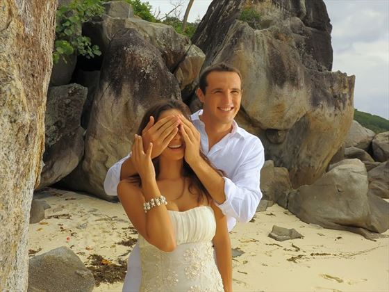 Bride & Groom at Sainte Anne Island