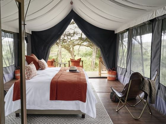 Guest tent interiors at Sanctuary Ngorongoro Crater Camp