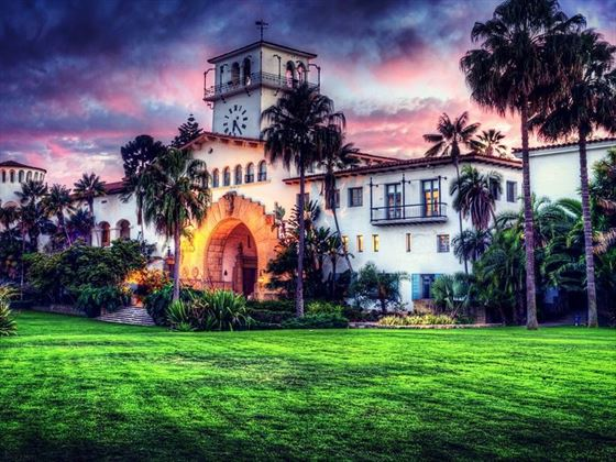 Santa Barbara Courthouse under a pink sunset