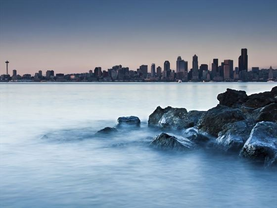 Seattle viewed from a rocky beach