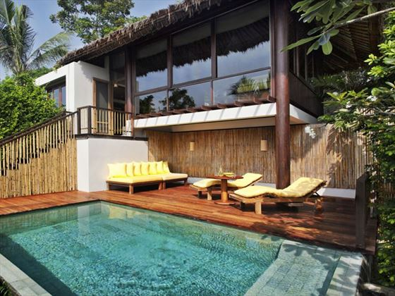 Pool deck at a Pool Villa, Six Senses Samui
