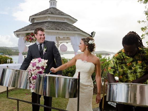 A true Caribbean wedding complete with steel drum