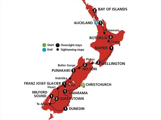 Spirit of New Zealand tour map