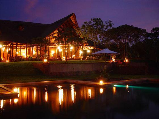 Stanley Safari Lodge pool at night