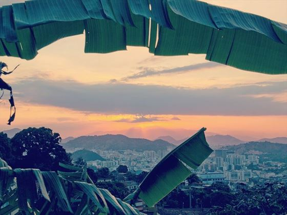 Sunset over Rio looking across the city to the Maracanã