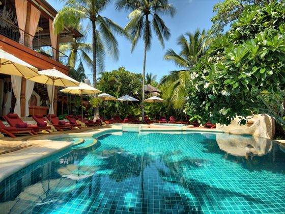 Lounge by the swimming pool at the Zazen Boutique Resort, Koh Samui
