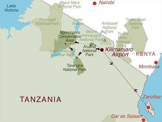 Tanzania Safari & Zanzibar Map