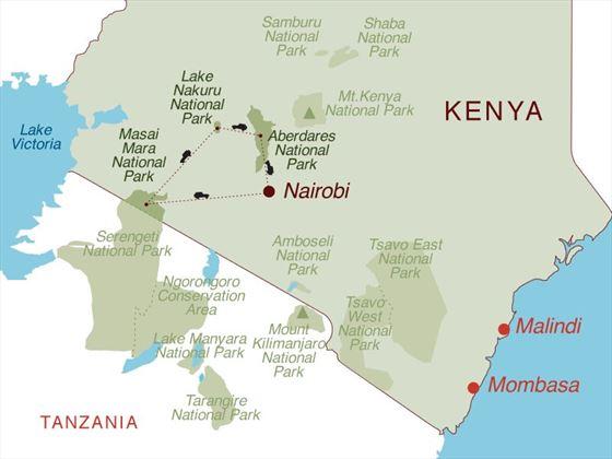 Taste of Kenya 4x4 Safari Map