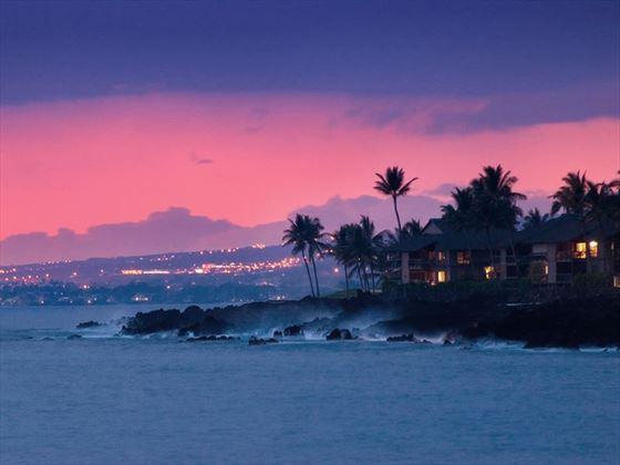 Hawaii coastline at night