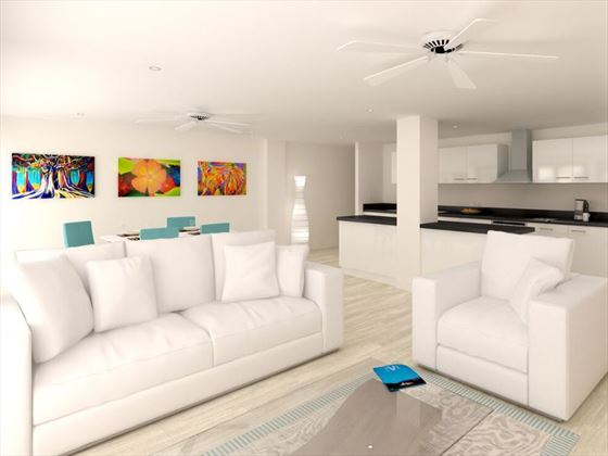 Artist's impression of living room and kitchen