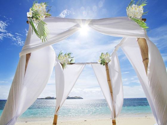 Tokoriki beach wedding setting