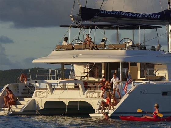 People having fun on board Lagoon 620