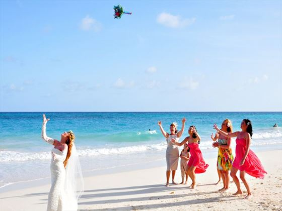 The traditional bouquet toss