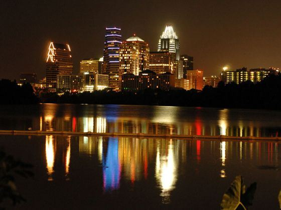 Town Lake at Night, Austin, Texas