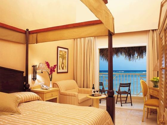 Typical bedroom with ocean views