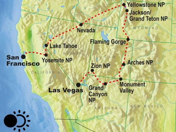 Map of Solar Eclipse - USA National Parks tour