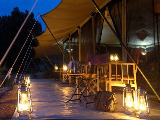 Veranda at night at Porini Lion Camp