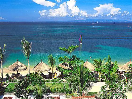 Views of the beach and tropical gardens at Melia Benoa
