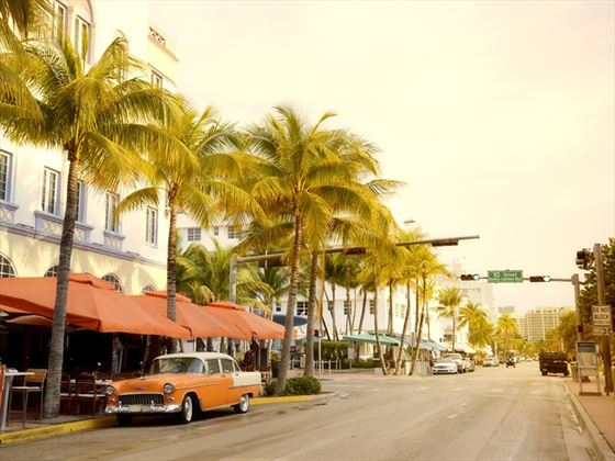 Vintage car on Miami's Ocean Drive