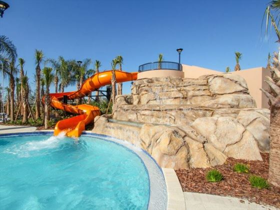 Water slide at Solterra Resort community pool