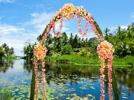 Wedding arch at the lagoon