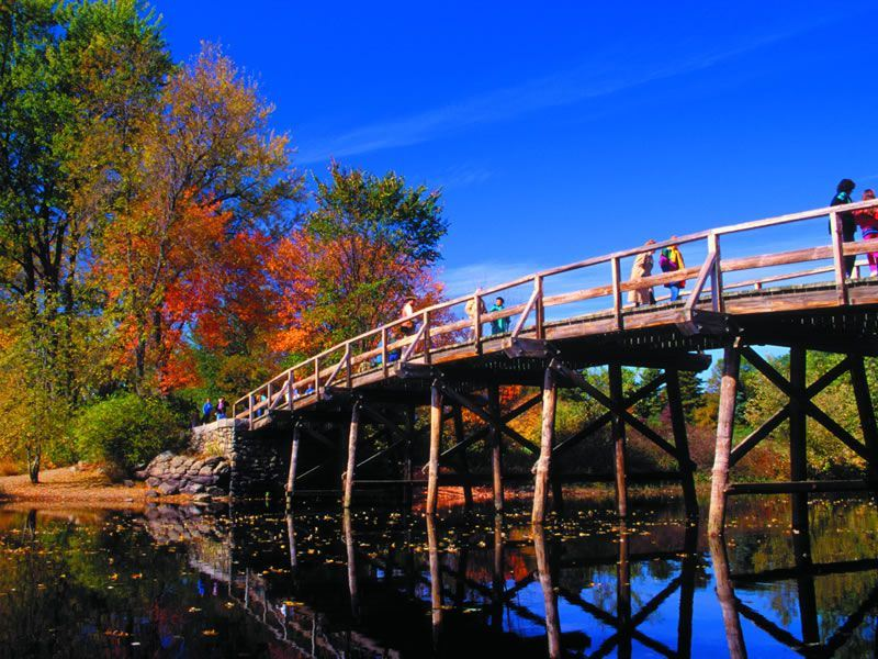 Concord Bridge in the fall, Boston